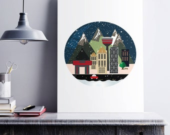 Canadian City Poster, Calgary, Montreal, Toronto, Vancouver, City, Wall art, Mid Century, City Poster, Housewarming Gift, Living Room