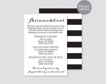 Printable OR Printed Wedding Accommodation Cards - Black and White Accommodation Inserts, Calligraphy Wedding Details Invitation Insert 0005