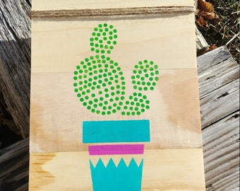Potted Succulent wood sign
