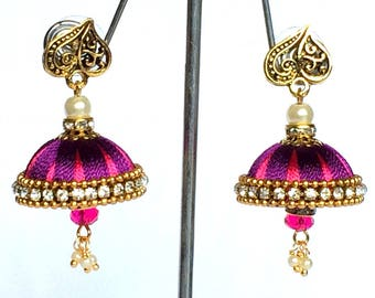 Silk Thread Jhumki Earring / Indian Thread Earrings/ Jhumka Earrings