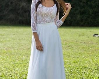 Modern Wedding Dress, Bridal Separates, Two Piece Crop Top Dress, Wedding Dress Separates, Lace wedding dress, romantic wedding dress
