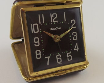Working Bulova Travel Analog Alarm Clock in Brown Clamshell Case | Made in Japan Windup Clock | No Batteries Needed
