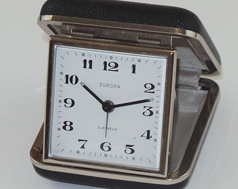 Working Europa Travel Analog Alarm Clock in Brown Clamshell Case | Made in Germany Windup Clock | No Batteries Needed | Vintage Alarm Clock