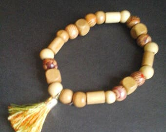 Stretchy Wooden Tassel Anklet, Wooden Bead, Tassel Anklet, Wooden Beads Tassel Anklet, Tassel Anklet for Her,