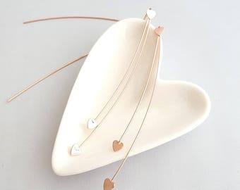 Heart Drop Threader Earrings,Heart Threader Earrings,Shooting Heart Earrings,Heart Drop Dangle,Geo Heart Threader Earring,Heart Bar Threader