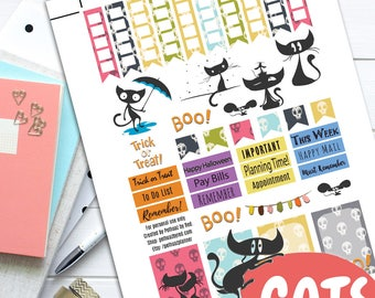 Halloween Cat Theme Planner Weekly Sticker Kit, Happy Planner Stickers, Printable Planner Stickers, Weekly Planner Sticker Set, Scared Cat
