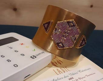 Cuff ethnic brass and plated gold purple amethyst