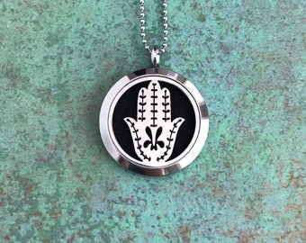 30mm Stainless Steel Essential Oil Diffuser Necklace, Hamsa, Hand of Fatima, Aromatherapy, Homeopathy, Natural Healing