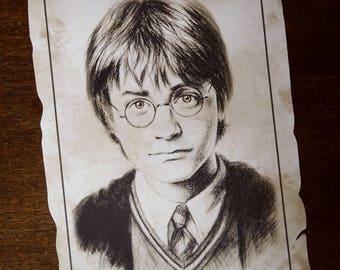 Harry Potter parchemin  Reproduction portrait de Harry Potter (Daniel Radcliffe) A4, déco Halloween