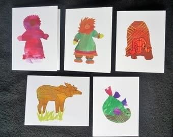 Alaskan Animal, Native Dancer Greeting Cards. Set of 5 unique art cards. Moose, Musk Ox, Seal, Inuit Dancer, Eskimo. Child collage artwork