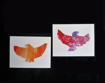 Eagle Cards, Alaskan Artwork Greeting Cards. Set of 2 unique collage art cards. Elementary student art fundraiser. American Eagle image.