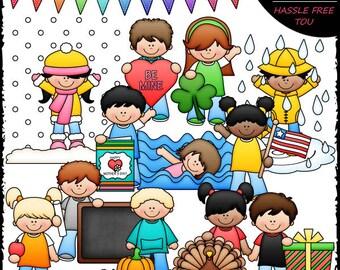 Calendar Kids 2 Clip Art and B&W Set