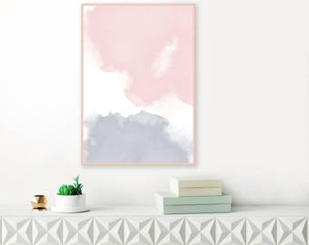 Blush Pink and Grey Abstract Art, Watercolour Print, Large Abstract Painting, Nursery Art, Printable  Living Room Decor