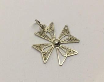 sterling silver Maltese  cross charm pendant #466