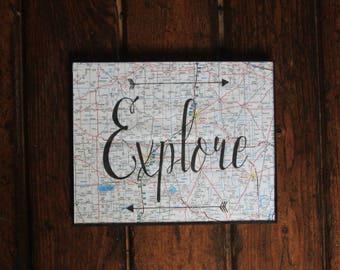 Explore/Wall Art/Travel/Frame/Map/Arrows/8x10