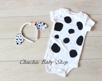 Baby Halloween Dalmatian Dog Costume outfit with headband  Girl Baby Onesie baby costume bodysuit baby picture baby photo prop baby onesie