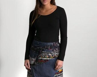 Reversible Cotton Skirt Black Patch Denim Detachable Pocket Long Length