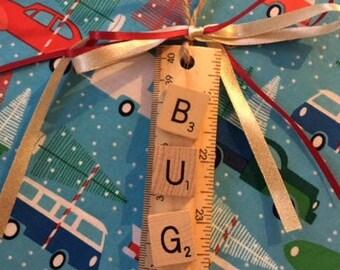 VW Bug Scrabble Tile Ornament/gift tag