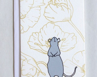 Rat with poppies greeting card