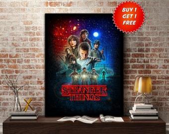 Stranger Things, Poster, Print, Netflix, TV Series, Eleven,11, Gift, Mike, Dustin, Lucas, Lights, Upside Down, World, Demogorgon, Hawkins