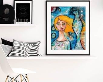 RISE | Inspiring Wall Art | Inspirational Quote | Whimsical Folk Art | Wall Art | Art Print | Colorful Wall Art | Mixed Media Painting