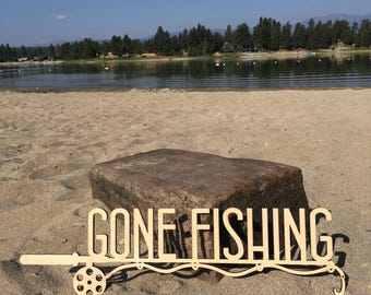 Gone Fishing, Wood, Wall Decor, Wooden, Cut Out, Laser, Sign, Quote, Saying, Fisherman, Rod, Reel, Fishin', Unfinished, Fish