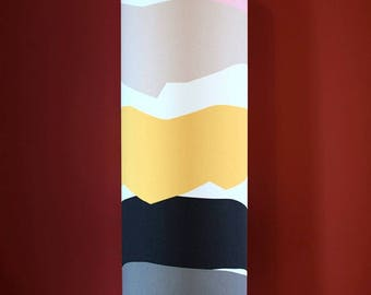 Tall lampshade with floor lamp base option, genuine Scandinavian fabric, handmade by vivid shades, funky yellow grey stripe mustard unique