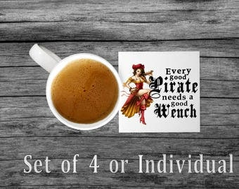 Every Good Pirate | Pirate Wench | Sandstone Coaster | Pirate Humor | Pirate Lover | Pirate Lover Gift | Pirate Gift | Sandstone Coasters  |