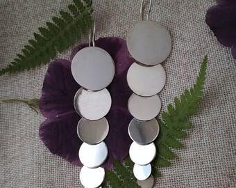 Sterling silver long-disc earrings Disco