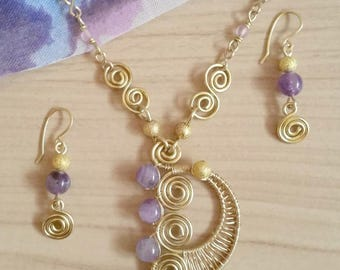 Gold and Amethyst Spirals Set