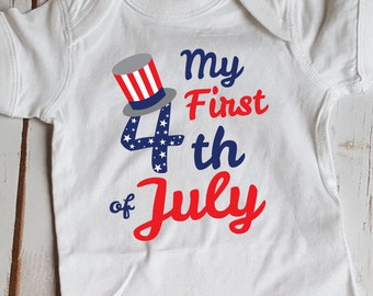 My First Fourth of July Bodysuit Fourth of July Holiday Baby Bodysuit Design