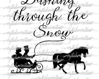 Dashing Through the Snow SVG, PNG, Silhouette, Cricut, Christmas, Sleigh, Script Font, horse, sled, winter