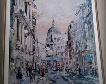 "Limited Edition Print Kamil Kubik Signed Artist Proof Stunning Framed Color Lithograph - "" Fleet Street , London "" Extremely Rare"