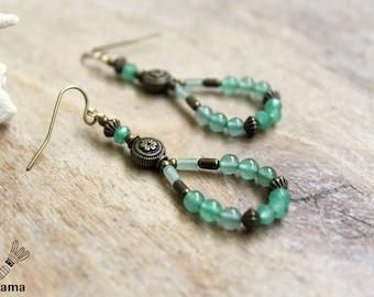 Bronze earrings rustic Trio of aventurine • • • • creative • creative • green stone jewelry gemstone jewelry ethnic jewelry