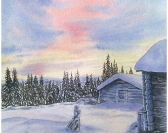 Aquarelle originale paysage de montagne, montagne enneigée avec chalets, soleil couchant aquarelle originale d'hiver