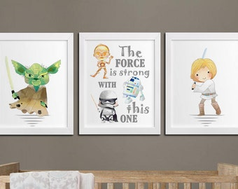 Star wars nursery printable art set, printable nursery Yoda quote, star wars kids room wall art, the force is strong decor download