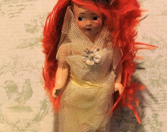 "Vintage 9"" Composition Doll in wrapped in Lace"