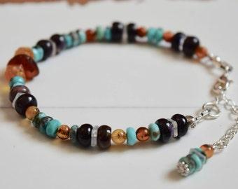 Sugilite Bracelet~ Baltic Amber Bracelet~ Sleeping Beauty Turquoise~ Healing Energy Bracelet~