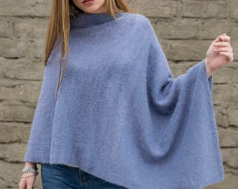 Cornflower pullover poncho