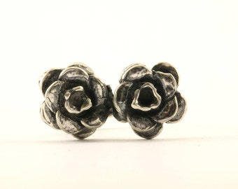 Vintage Two Rose Flowers Ring 925 Sterling RG 802