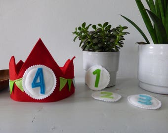 modern waldorf red birthday crown with green and blue bunting