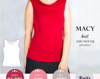 Women sewing pattern pdf / womens top pdf pattern / cowl neck / sewing pattern with pdf sewing tutorial XS-XXL plus size / instant download