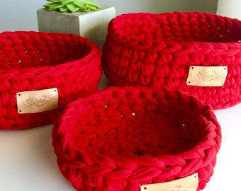 Cotton baskets / Red / Trio / 3 Basket Kit / 7.5in x 3.5in / Crochet / Hand crocheted / Recycled cotton