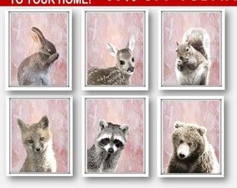 Nursery Animals Art Set,  Woodland Rabbit Prints,  Woodland Fox Set, Woodland Girl Nursery  Woodland Bunny Print Woodland Bear Set, Woodland
