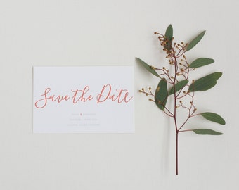 Coral Calligraphy Save the Date - Simple Modern Save the Date - Wedding Save the Date card