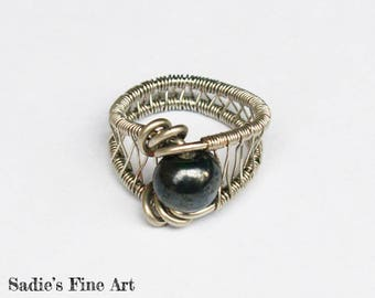 Black and Silver Wire Wrap Ring