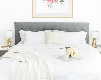 Printable Watercolor Roses Art Print Shabby Chic Wall