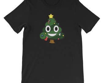 Christmas Tree Costume Shirt Funny Christmas Tree Poop Emoticon Face T-Shir