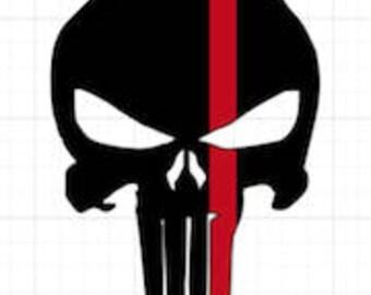 Punisher Skull Decal, Punisher Sticker, Thin Red Line, Fire Punisher Skull, Red Line Decal