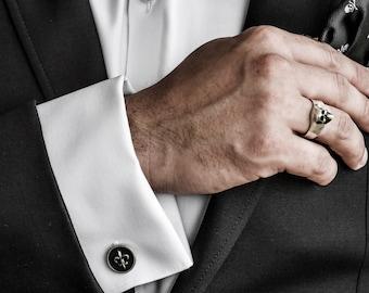 Silver Fleur De Lis Cufflinks | royal cufflinks | handmade cufflinks | silver cufflinks | 3D fleur de lis | 925 cufflinks | men jewelry